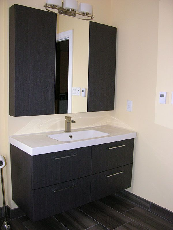 Vanity with Tile Flooring